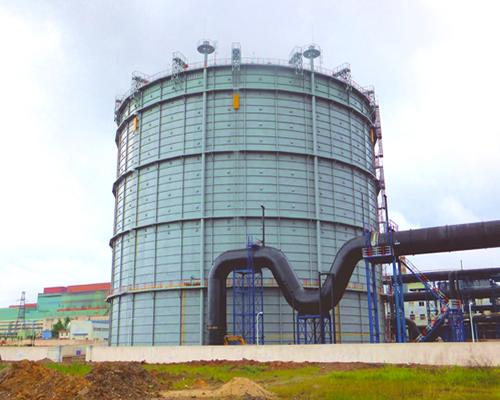 广东韶关钢铁12万m3圆筒型橡胶膜密封(两段式)转炉煤气柜