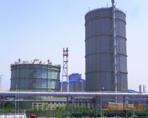 天津天钢联合钢铁8万m3圆筒型橡胶膜密封(两段式)转炉煤气柜(左)